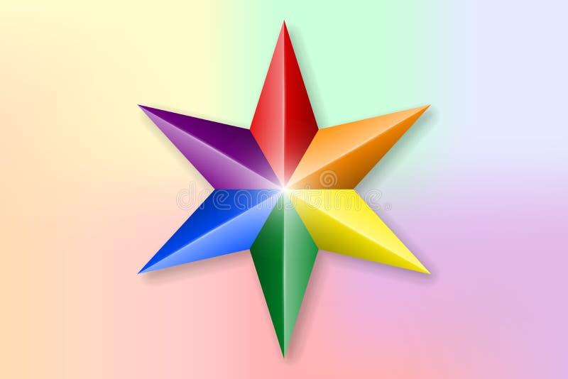 3D festive star in LGBT colors stock illustration