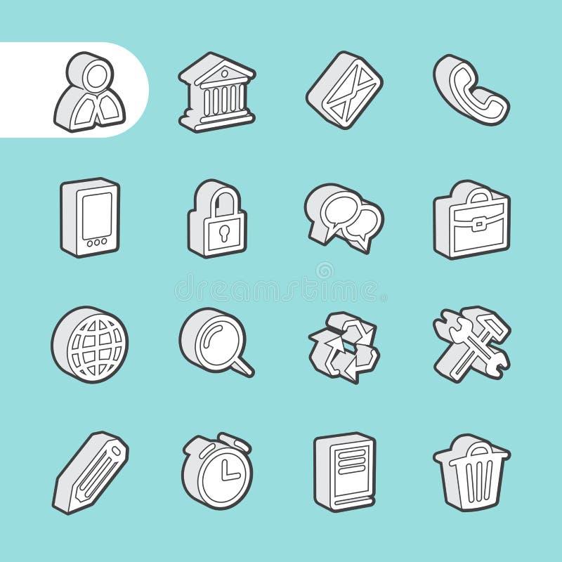 3D fet linje symboler royaltyfri illustrationer