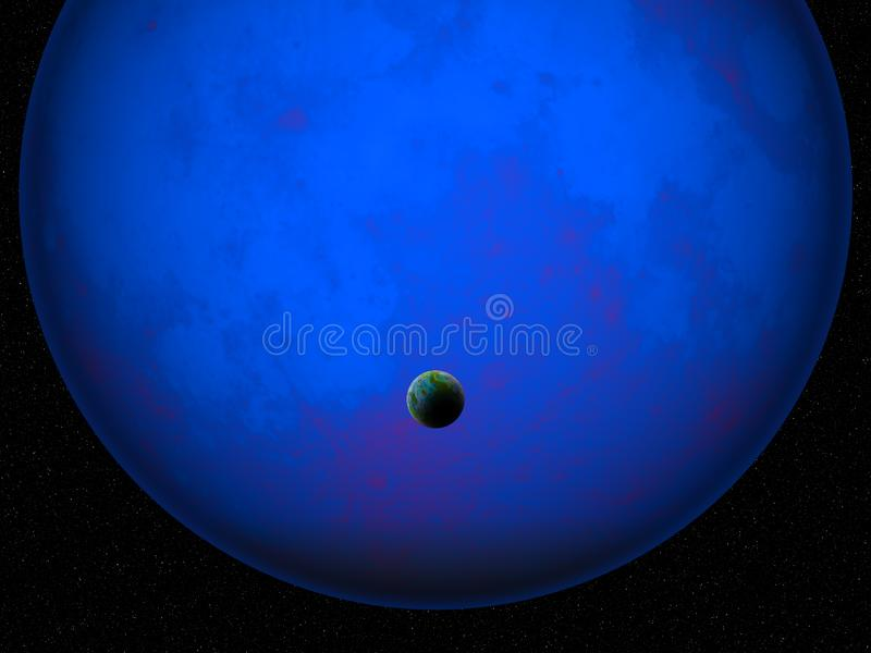 3D fictional space scene with Earth like planet against glowing blue planet royalty free illustration