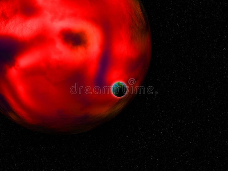 3D fictional space scene with Earth like planet against glowing red planet stock illustration