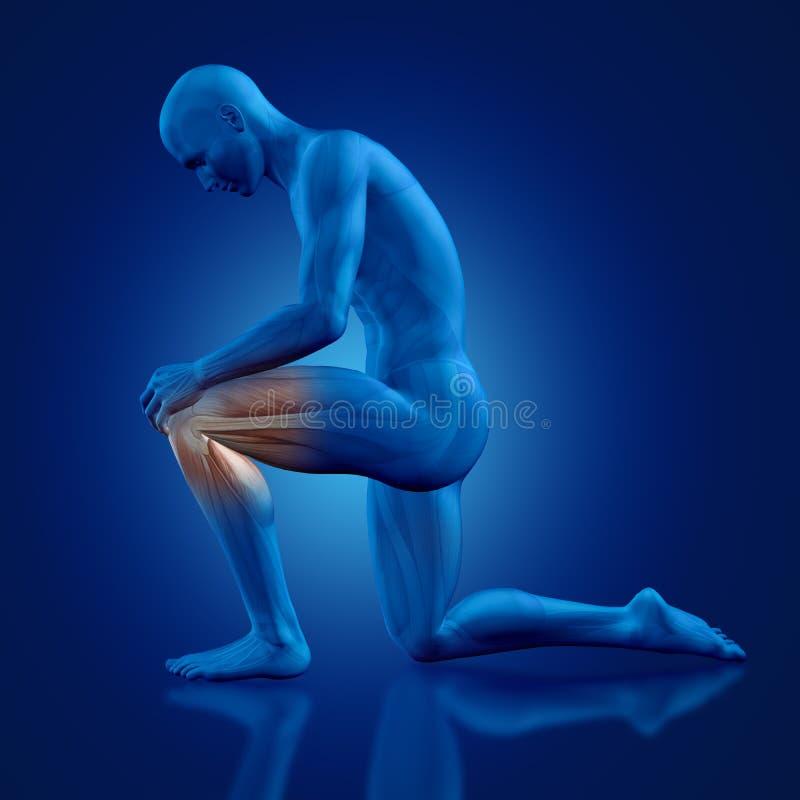 3D figura maschio ginocchio della tenuta illustrazione vettoriale