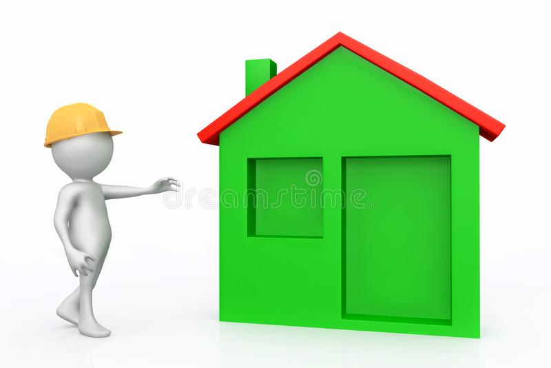 3D figure with hard hat and single family home. Computer generated 3D illustration of a 3D figure with hard hat and single family home vector illustration