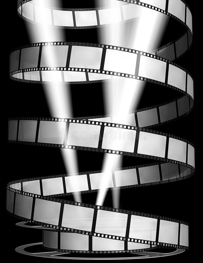 3d: Film con i riflettori e la bobina royalty illustrazione gratis