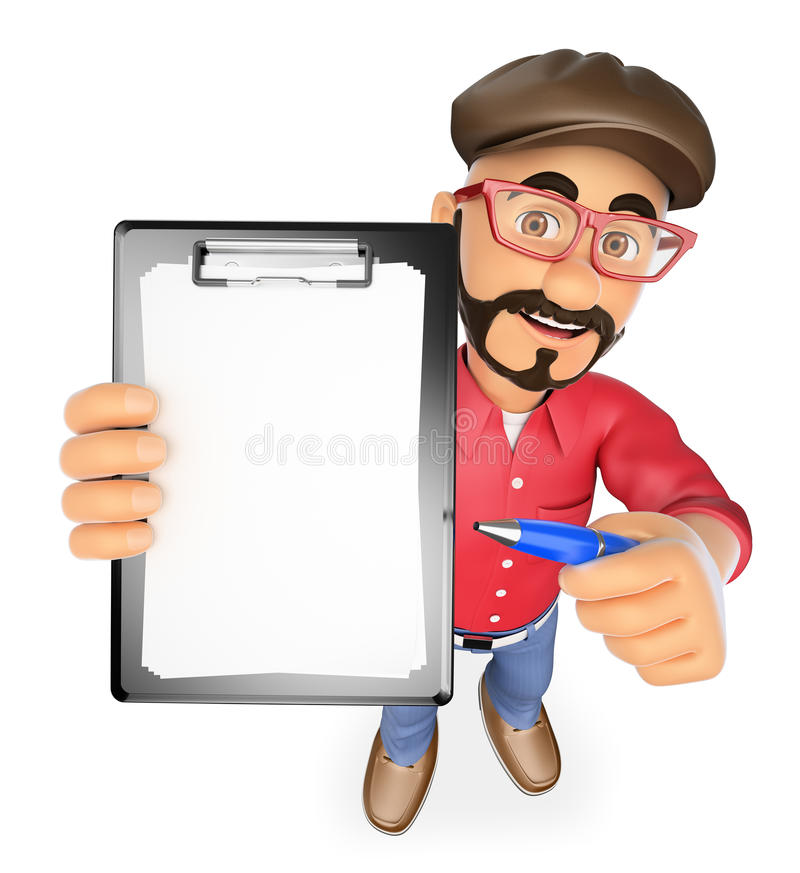 3D Film director with blank clipboard and a pen. 3d show business people. Film director with blank clipboard and a pen. White background royalty free illustration