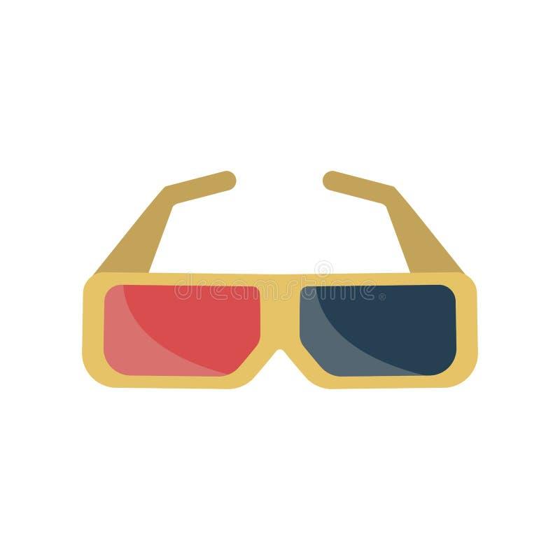 3D film-glazen pictogram stock illustratie