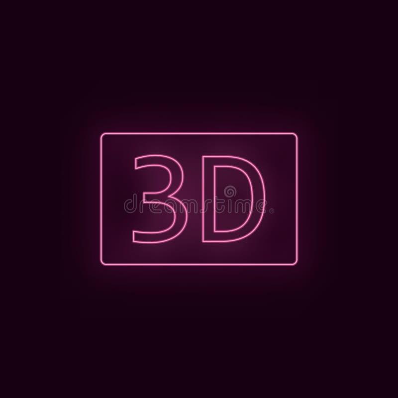 3d film, neon, symbol Symbol för ux för ui för neon för teaterrubinfärg Vektor för teaterteckenlogo - vektor stock illustrationer