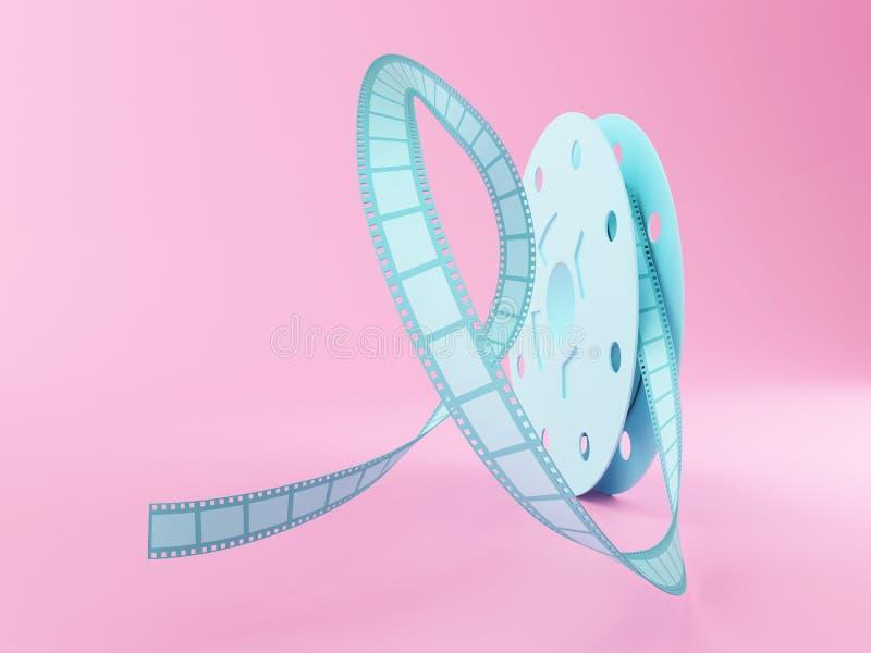 3d Film reel cartoon style. stock illustration