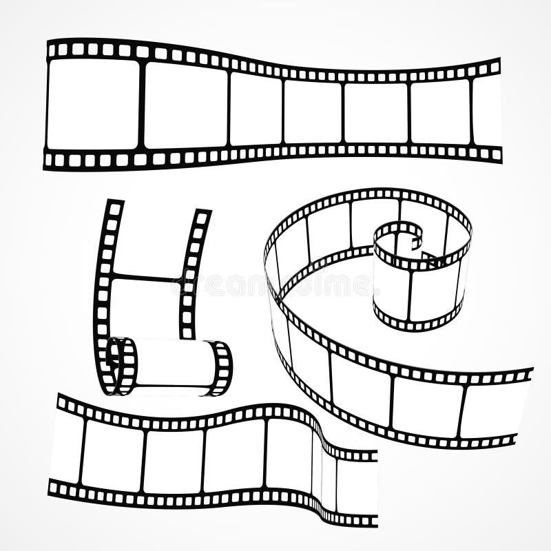 3d film reel strip vector set. 3d film reel strip set vector royalty free illustration