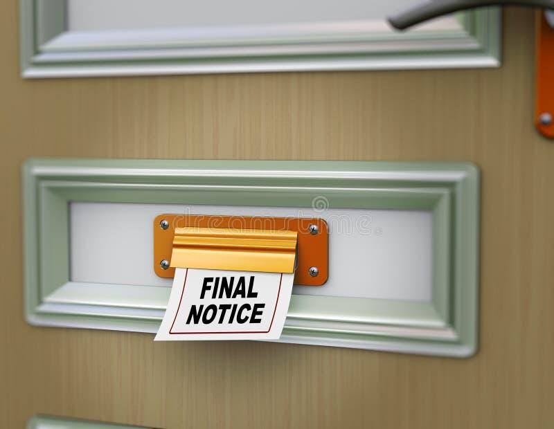 3d final notice. 3d rendering of final notice arriving from door letter slot royalty free illustration