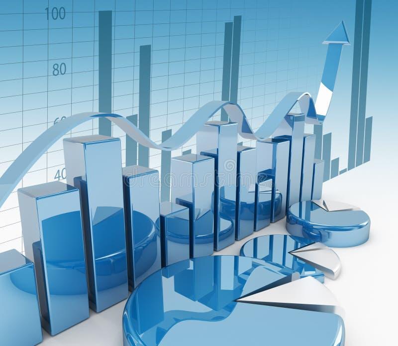 3d financiëngrafiek royalty-vrije illustratie