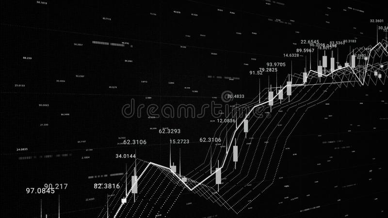 3d financial background with all the data and graphics, growth and decline, finance and economics concept. Animation. 3d financial background with all the data stock illustration