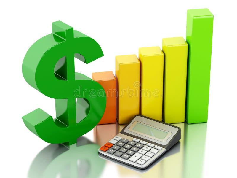 3d Financieel bedrijfs, grafiek en dollarteken vector illustratie