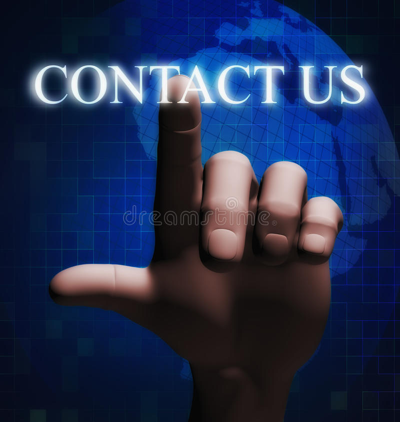3d finger touching contact us illustration vector illustration