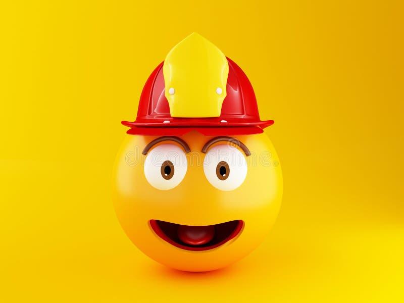 3d Fireman emoji with helment stock illustration