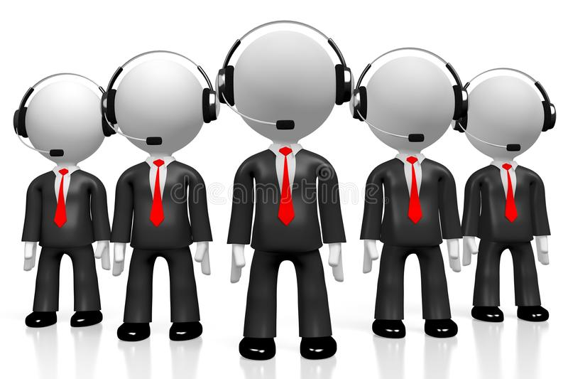 3D businessmen - call center concept royalty free stock photo