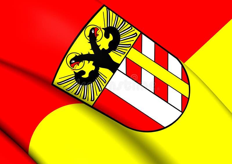 Flag of Bavarian Swabia, Germany. 3D Flag of the Bavarian Swabia, Germany. Close Up vector illustration