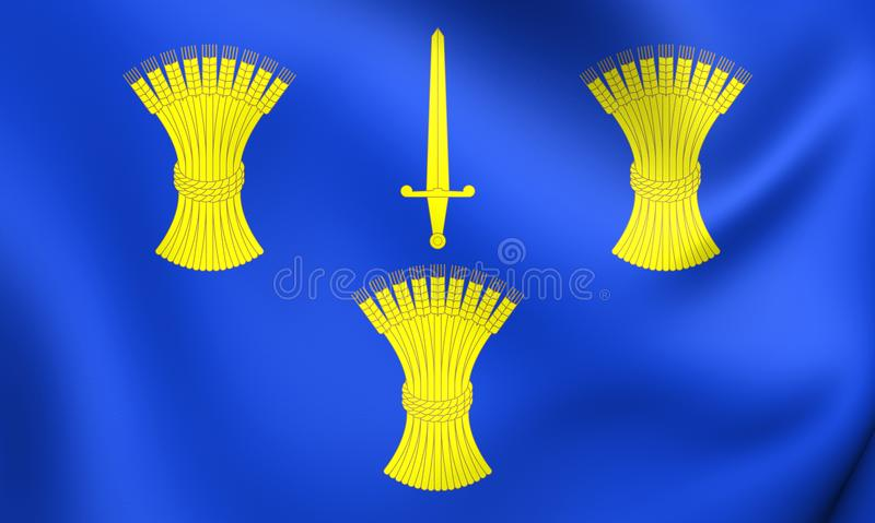 Flag of Cheshire County, England. 3D Flag of Cheshire County, England. Close Up royalty free illustration
