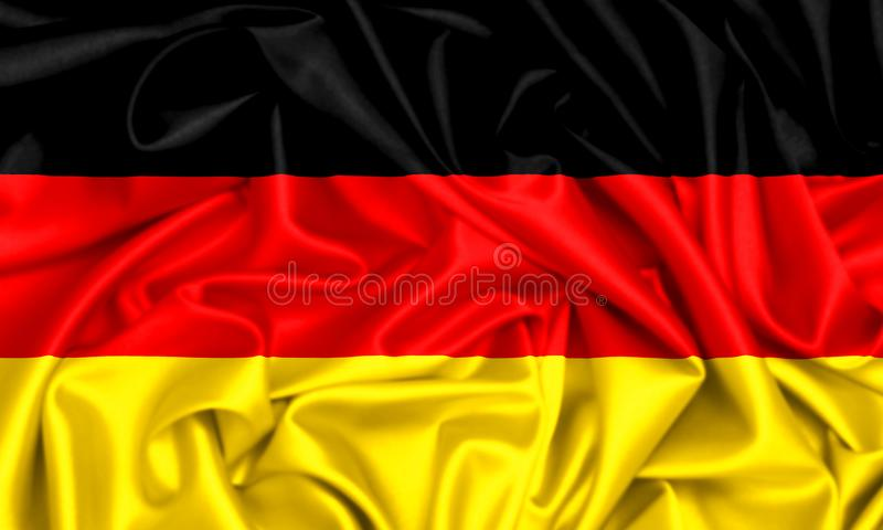 3d flag of Germany waving. In the wind, silk texture fabric background stock illustration
