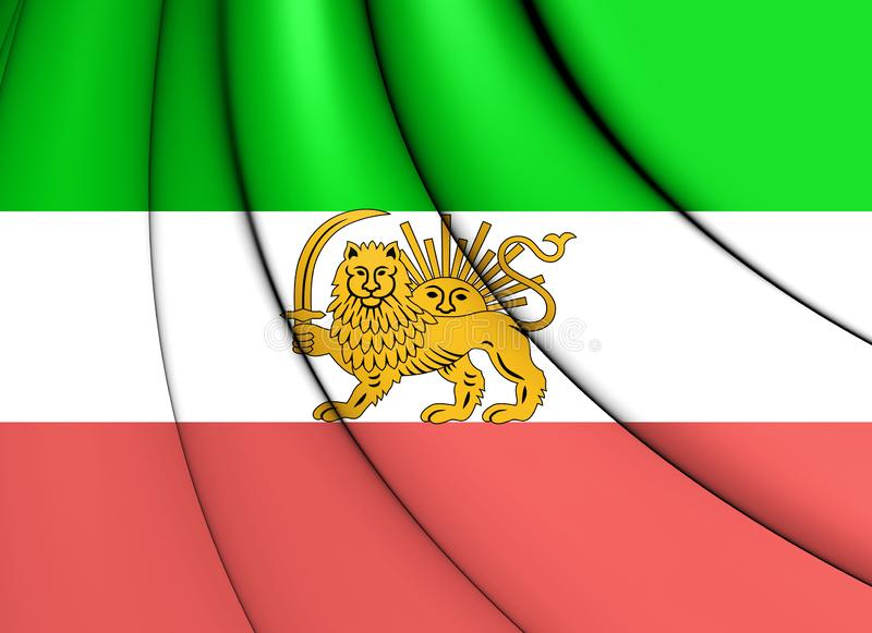 3D Flag of Iran 1910-1925. Old Lion and Sun Flag. stock illustration