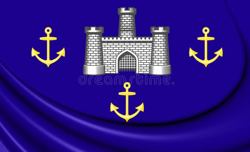 3D Flag of Isle of Wight Council, England. 3D Illustration stock illustration