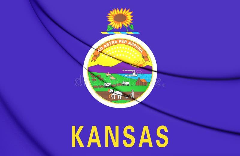 3D Flag of Kansas, USA. 3D Illustration vector illustration