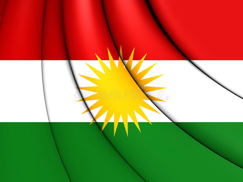 3D Flag of Kurdistan. 3D Illustration vector illustration
