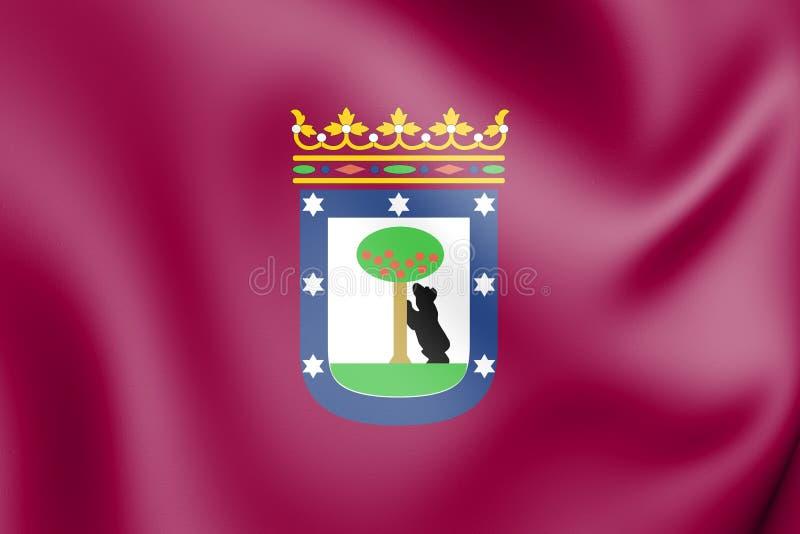 3D Flag of Madrid, Spain. vector illustration