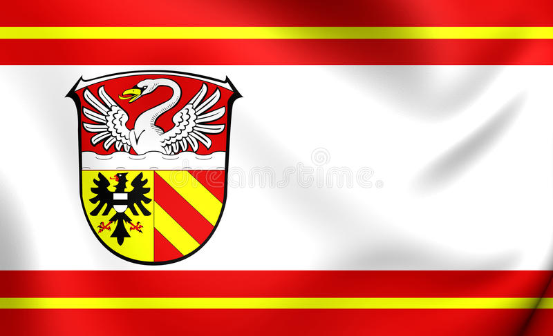 3D Flag of Main-Kinzig, Germany. Close Up royalty free illustration