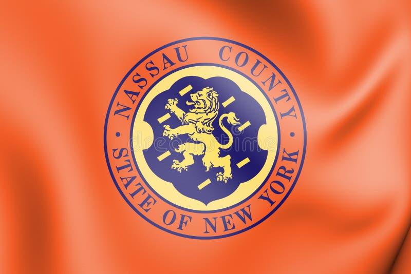 3D Flag of Nassau County New York, USA. 3D Illustration vector illustration