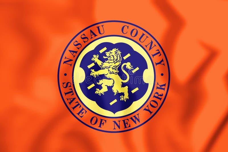 3D Flag of Nassau County & x28;New York& x29;, USA. 3D Illustration stock illustration
