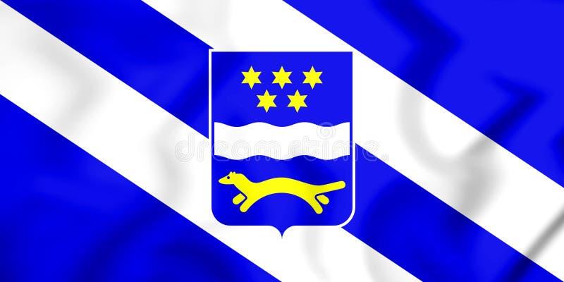 3D flaga Brod-Posavina okręg administracyjny, Chorwacja ilustracja wektor