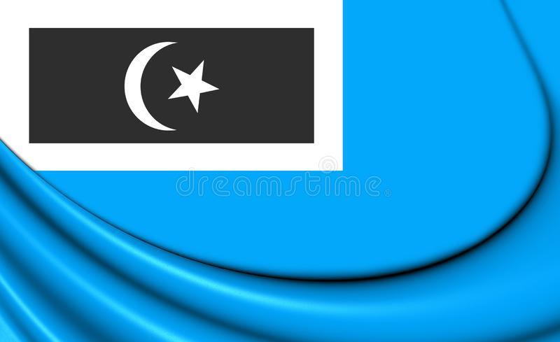 3D flaga Dungun Terengganu, Malezja ilustracja wektor