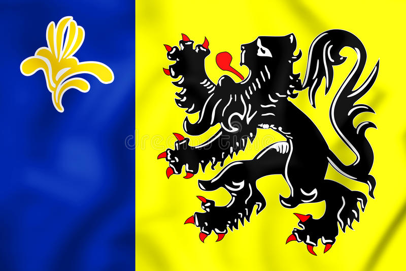 3D flaga Flamandzka społeczności prowizja ilustracja wektor