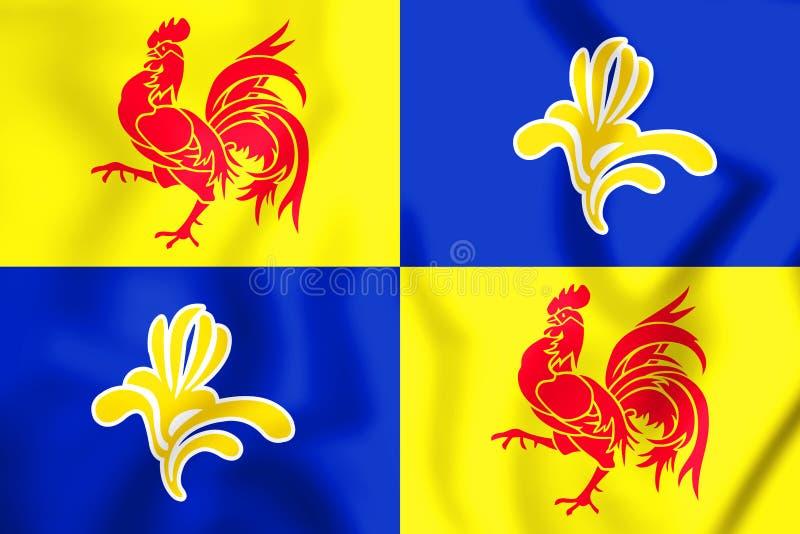 3D flaga Francuskiej społeczności prowizja, Belgia ilustracji