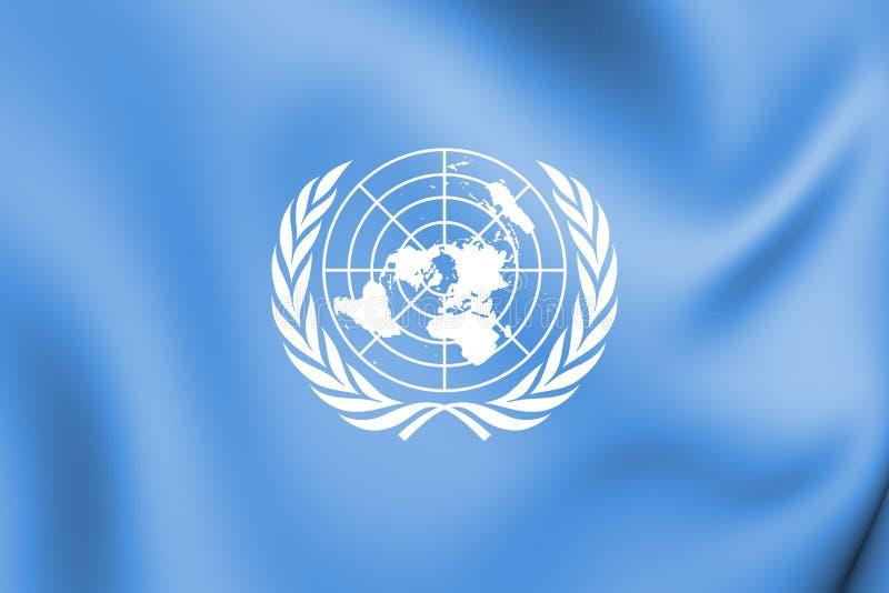 3D flaga Narody Zjednoczone ilustracji