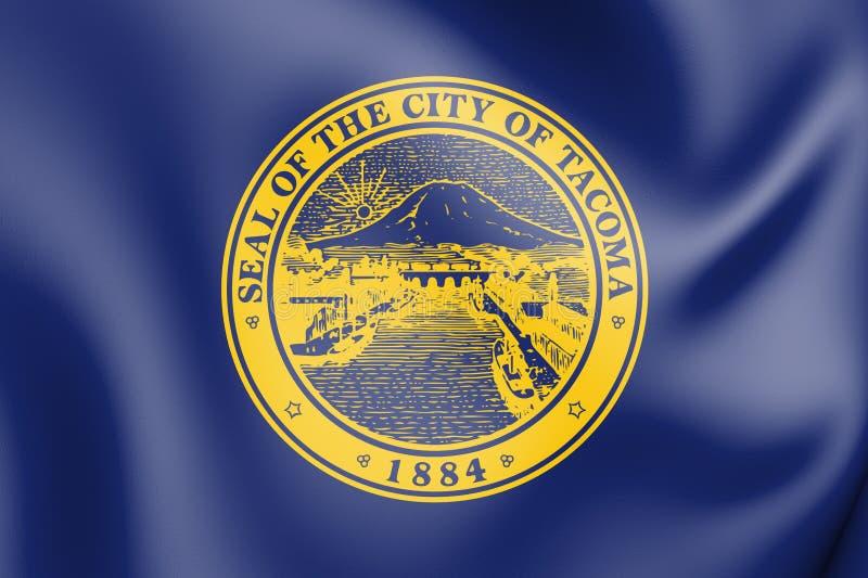 3D flaga Tacoma stan washington, usa ilustracja wektor