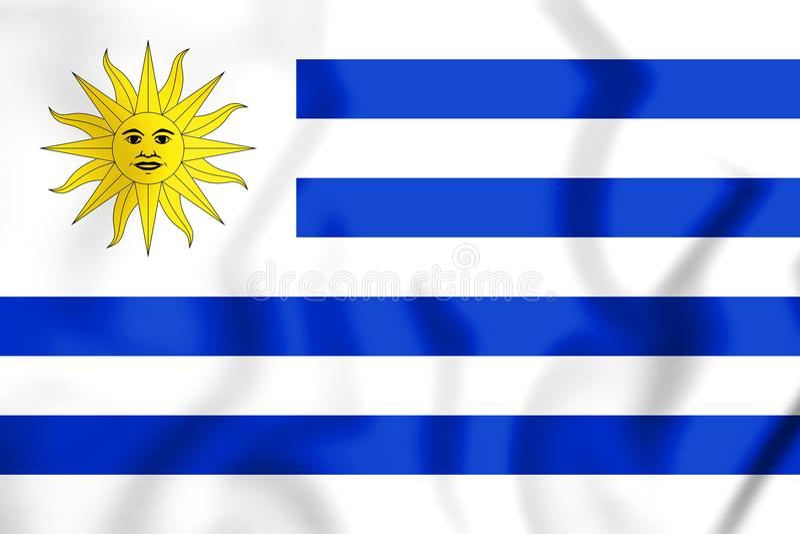 3D flaga Urugwaj royalty ilustracja