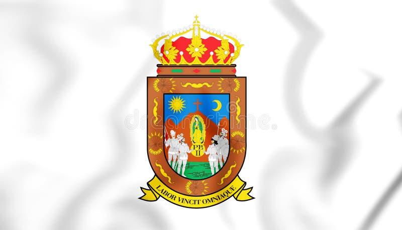 3D flaga Zacatecas stan, Meksyk ilustracji