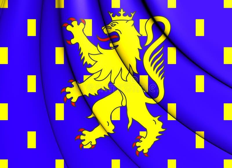 3D Flagge von Franche-Comteregion, Frankreich lizenzfreie abbildung