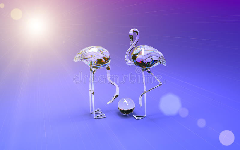 3d flamingo made of colored glass. High resolution 3D Render royalty free illustration