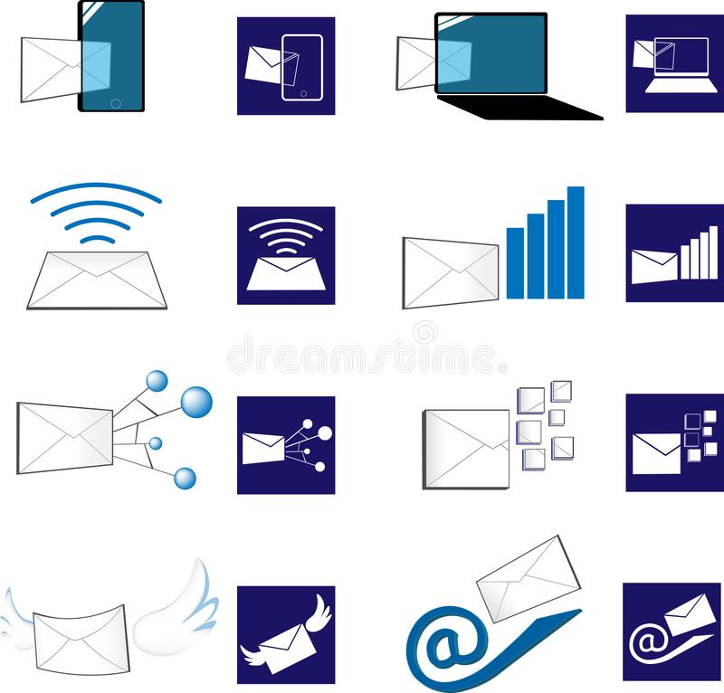 3D and flat email icon royalty free illustration