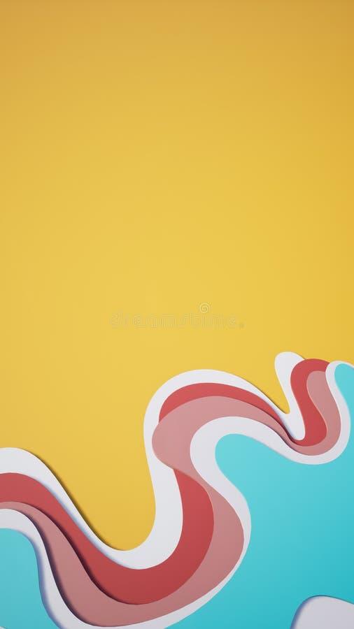 3D flerfärgad linje abstrakt bakgrundstapet vektor illustrationer