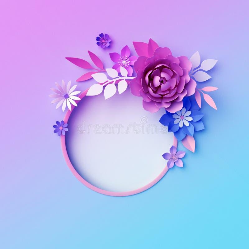 3d fleurs de papier au n?on, fond botanique, cadre rond d'isolement, guirlande, papier peint de couleur en pastel, carte de voeux illustration de vecteur