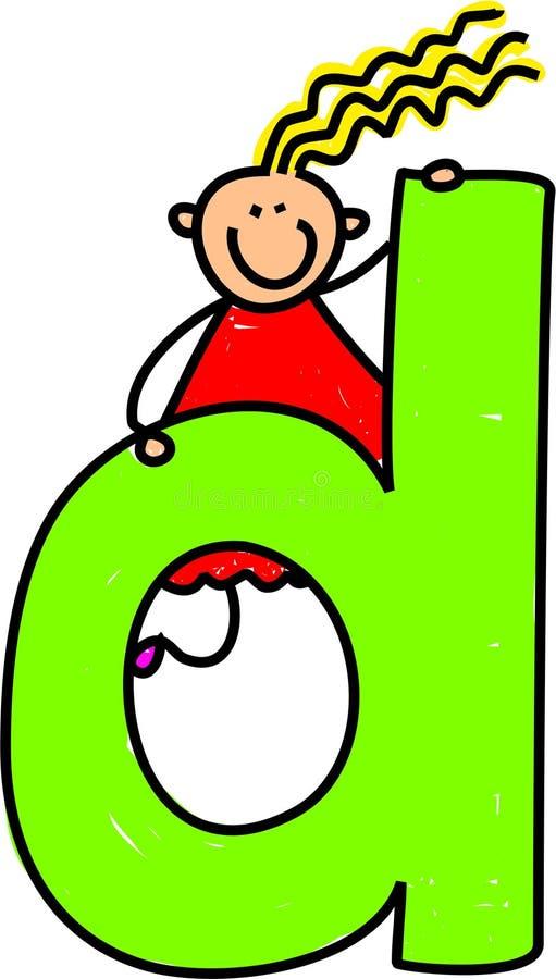D-flickabokstav vektor illustrationer