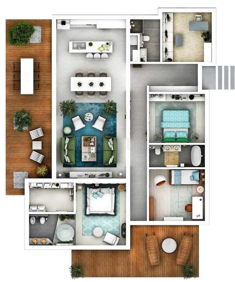 Architectural 3d floor plan top. 3d furnished floor plan of a house with big living dining kitchen three bedrooms office and three bathrooms with one matrimonial royalty free stock photo