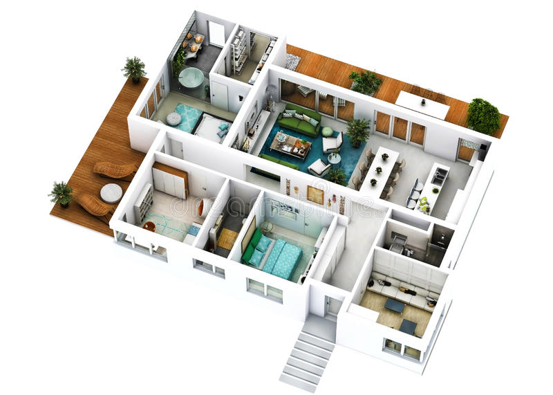 3d floor plan. 3d furnished floor plan of a house with big living dining kitchen three bedrooms office and three bathrooms with one matrimonial dressing royalty free stock image