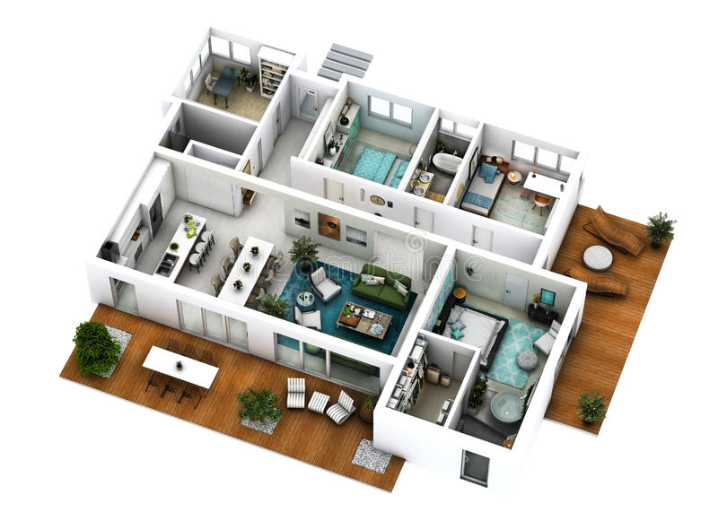 3d floor plan. 3d furnished floor plan of a house with big living dining kitchen three bedrooms office and three bathrooms with one matrimonial dressing stock photos