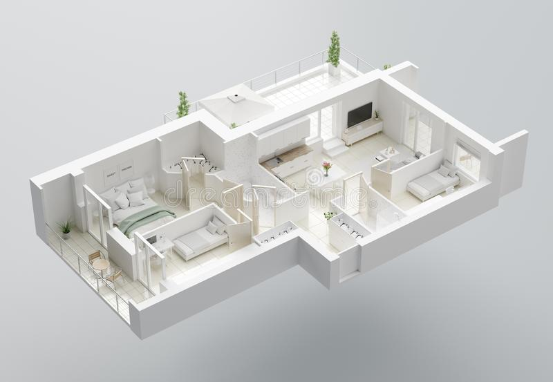 3D Floor plan of a home. Open concept living apartment layout stock illustration