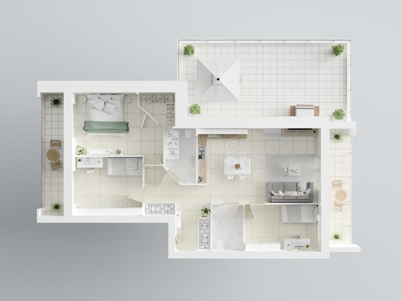3D Floor plan of a home. Open concept living apartment layout vector illustration