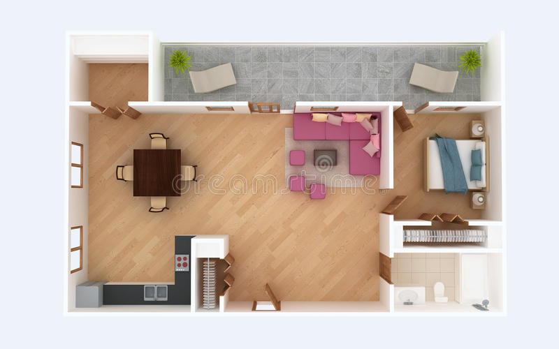 3D Floor Plan Section Apartment House Interior Overhead Top View